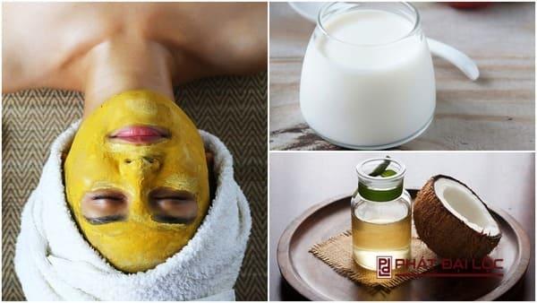 Mặt nạ tinh bột nghệ với dầu dừa và sữa chua